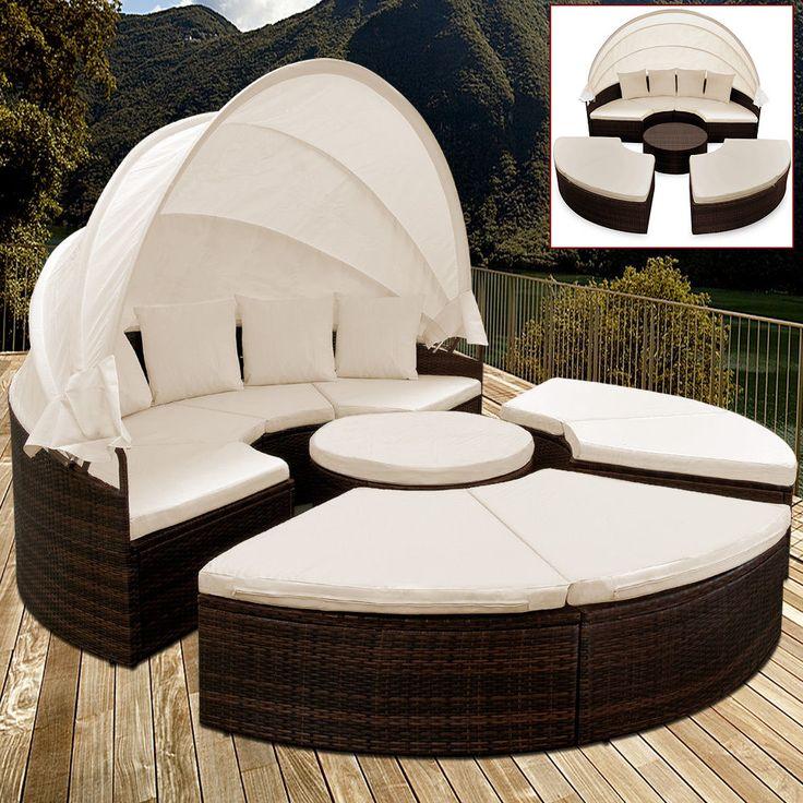Details Zu Sonneninsel Gartenmobel Polyrattan Sitzgarnitur Gartenmuschel Sonnenliege Lounge