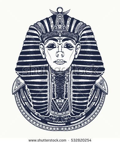 Pharaoh tattoo art, Egypt pharaoh graphic, t-shirt design. Great king of ancient Egypt. Tutankhamen mask tatoo. Egyptian golden pharaohs mask, ethnic style tattoo vector