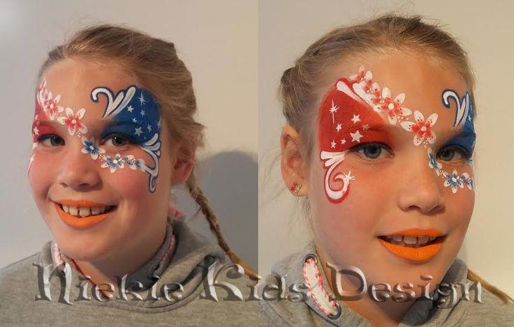 #koningsdag #schmink #rood wit blauw #niekiekidsdesign