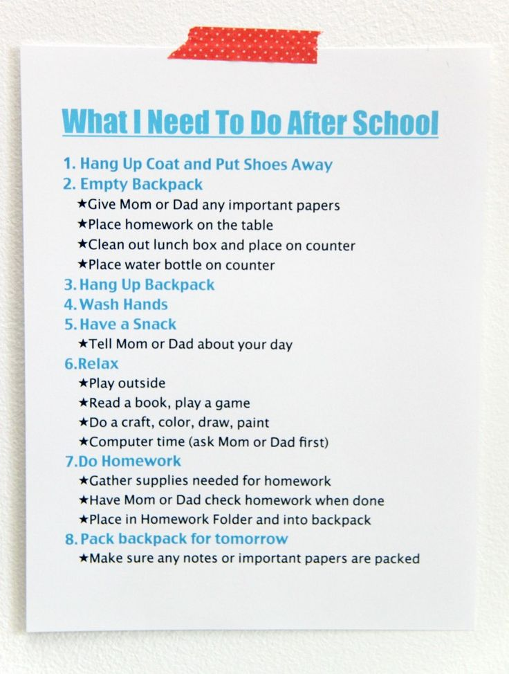 FREE printable After School Routine. I love this idea to make after school time go more smoothly!
