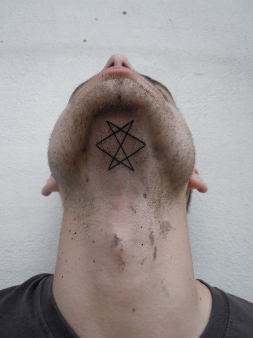 I like this design, but there are 3 problems with this guy: -awful location - shaving is difficult enough as it is -it's sideways (the unicursal hexagram should be with the wide point to the chin) -no functional use unless he's invoking into his own skull - it doesnt seem wise to leave a sigil here as an open doorway