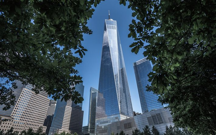 Download wallpapers New York, Manhattan, World Trade Center 1, skyscrapers, modern building, tall buildings, Financial District, USA