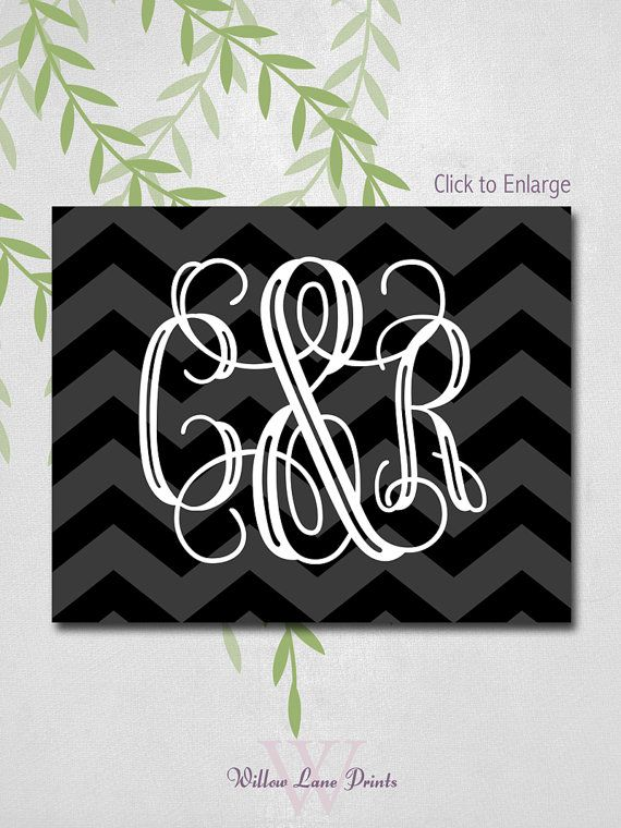 Custom Wedding Monogram Sign, Canvas, Print or Framed, Reception Decor, Personalized Bride and Groom Gift (3907) on Etsy, $18.00