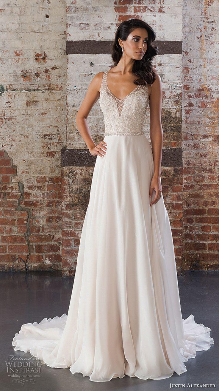 justin alexander spring 2017 bridal sleeveless v neck heavily embellished bodice flowy skirt romantic modified a  line wedding dress v back chapel train (9849) mv