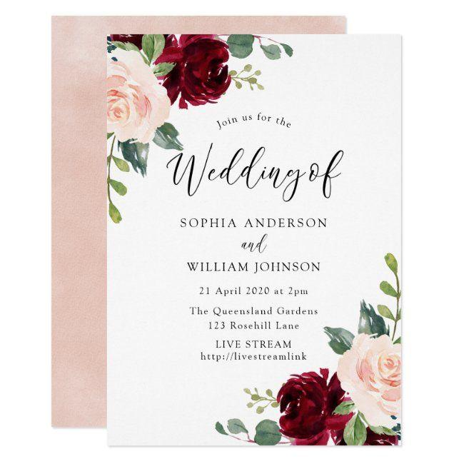 Blush Burgundy Wedding Live Stream Option Invitation Zazzle Com In 2020 Watercolor Floral Wedding Invitations Wedding Anniversary Invitations Floral Wedding Invitations