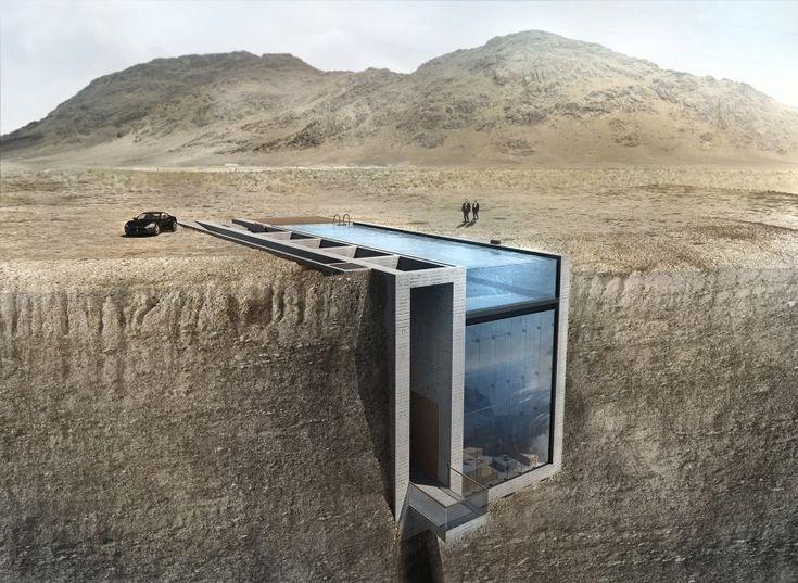das dach ist ein swimmingpool die front komplett aus glas und das ganze liegt in einer klippe. Black Bedroom Furniture Sets. Home Design Ideas