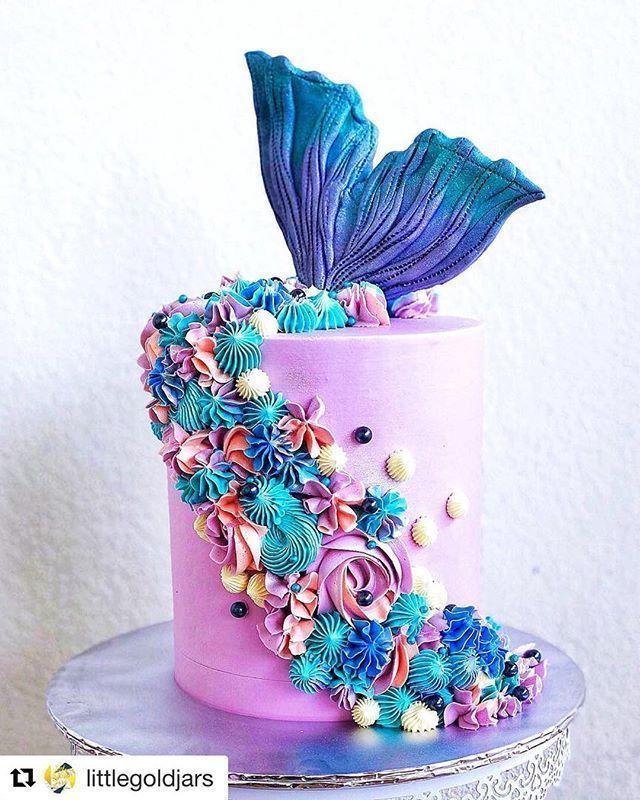 mermaid cream cake design Wie toll ist dieser Buttercreme-Meerjungfrauen-Schwanzkuchen von