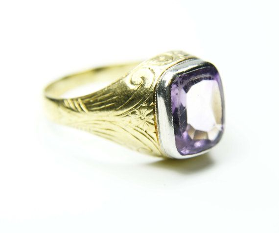 Vintage Mens Ring 18k Gold Mens Amethyst Ring by BelmarJewelers