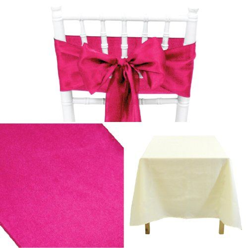 Best selling of Koyal Wholesale Linens Party Kit, Includes 60 by 102-Inch Ivory Rectangular Poly Table Cloth with Satin Table Runner and 10-Pack Fuchsia Satin Chair Bow Sash