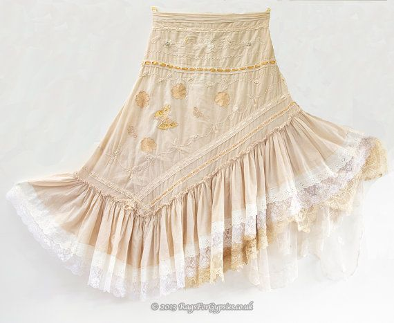 Angell is a Exquisitely Beautiful Fabulous Fairytale Tattered Dream of a Asymetric style Gypsy skirt.