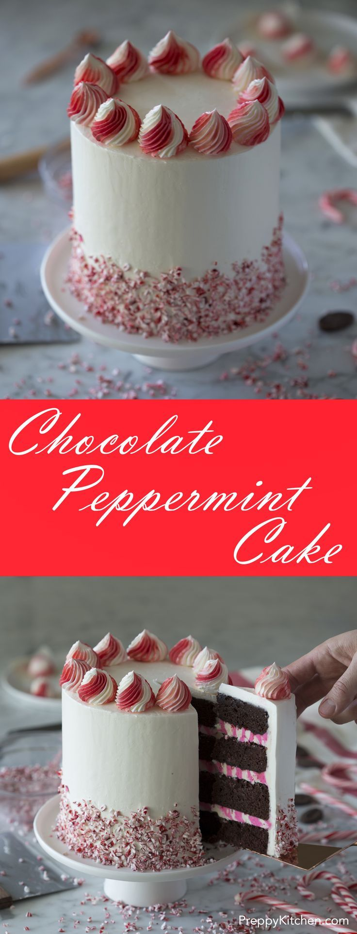 Chocolate Peppermint Cake via @preppykitchen. Christmas Baking. Christmas Cake Ideas.