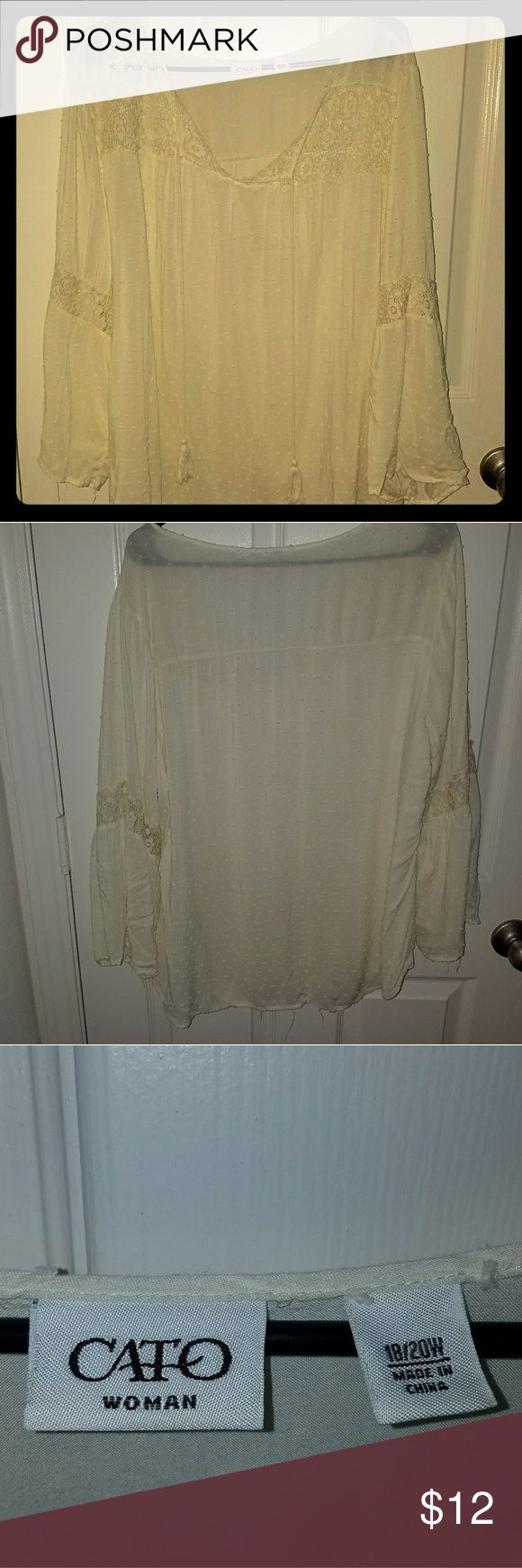 Cato cream poet shirt Really soft and thin.. Lovely poet shirt with long tassels. Cato Tops Blouses