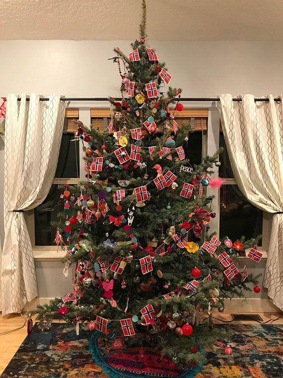 Norwegian Flag Garland Etsy Christmas Tree Themes Christmas Tree Decorations Flag Garland