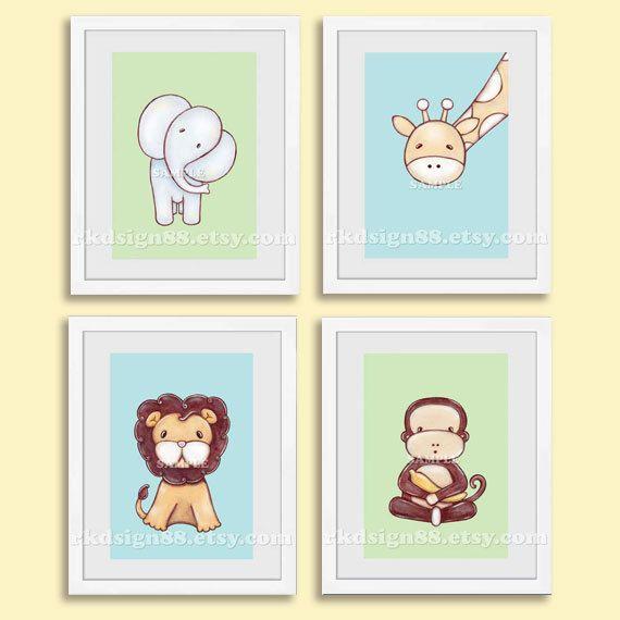 Safari nursery art print, baby nursery decor, nursery wall art, kids art, elephant, giraffe, lion, monkey, blue, green, set 5 x 7
