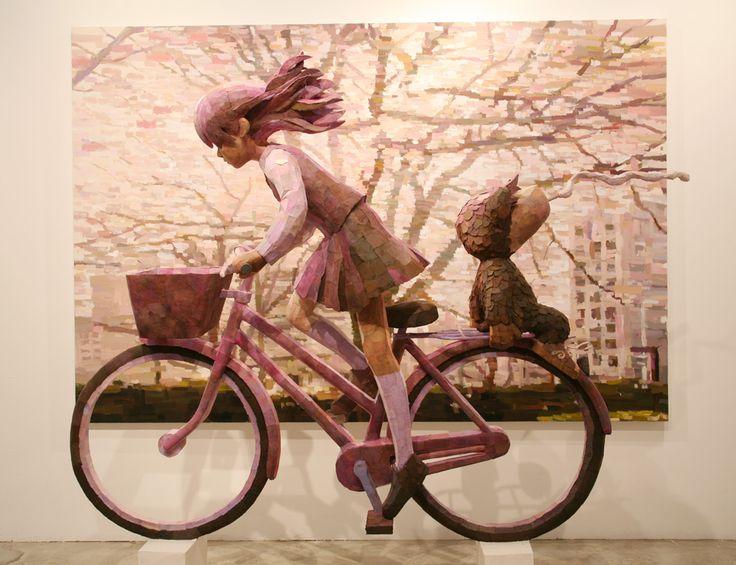 O incrível trabalho de Shintaro Ohata. Pinturas dramáticas e esculturas que anexam ao fundo dando um visual único. LINDO TRABALHO