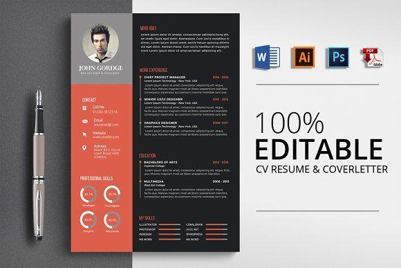 Minimalist Cv Resume Word Template Resume Design Template