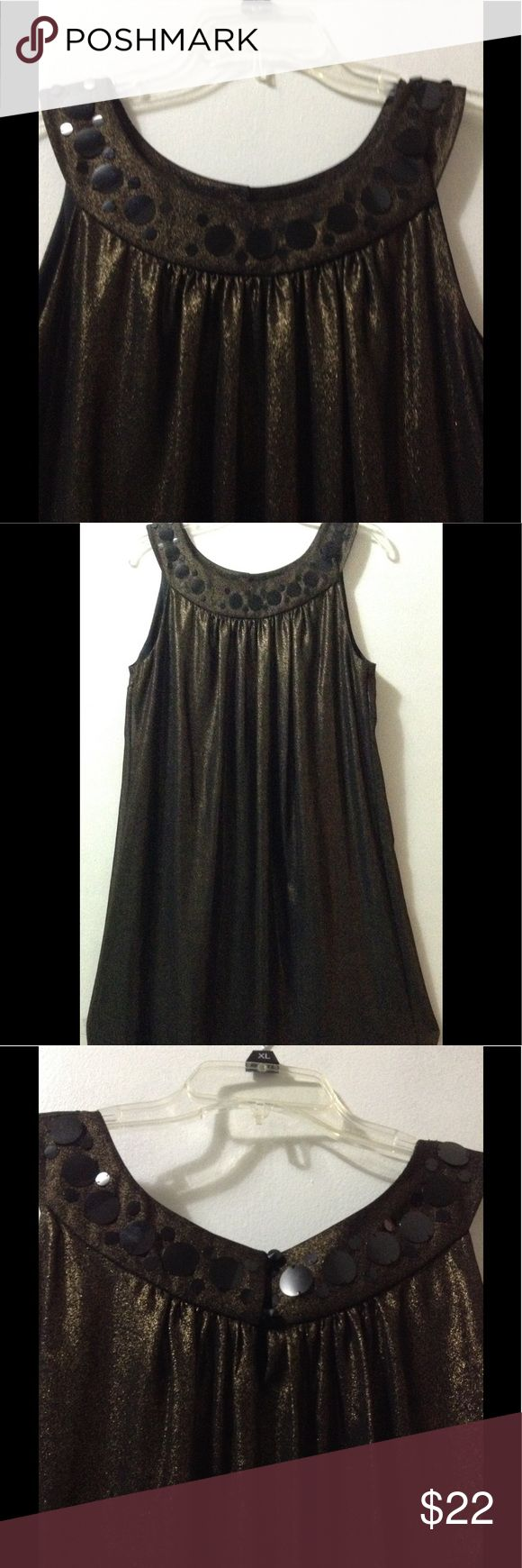 Evening Glam Comfy Dress Evening Glam Comfy Dress. 100% polyester. Very loose and flarely Large black circle sequence design in collar, glittery gold design. Brand new (WOT) Never been used guaranteed. Lane Bryant Dresses Midi