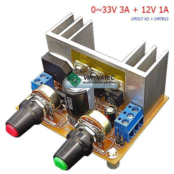 Fonte ajustável 0~33V com 2X LM317 para 3A + 12V 1A