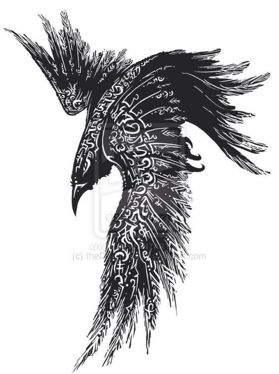 Raven tattoo. Love the intricate concept of this design, not so much on the actual drawing / positioning but on a bird in a different pose it could be cool.