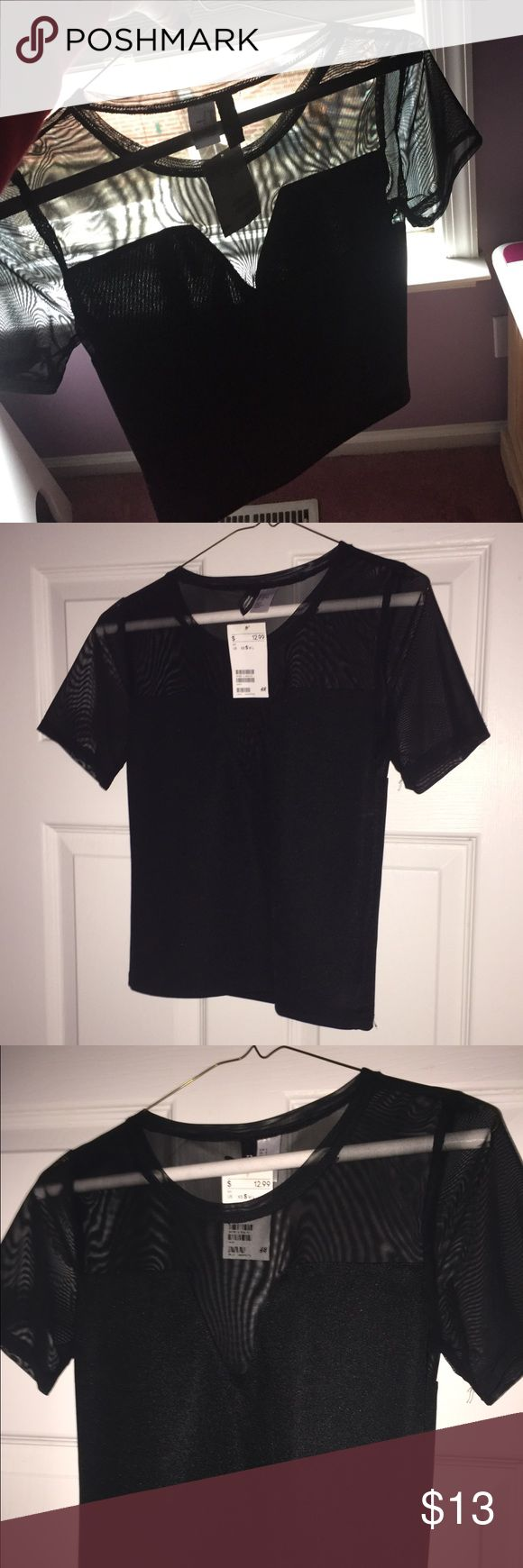 H&M brand new black going out top Brand new just didn't fit ! See through on the top H&M Tops