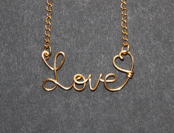 Love Word Necklace With Heart Gold Wire  by FabulousWire on Etsy, $15.99