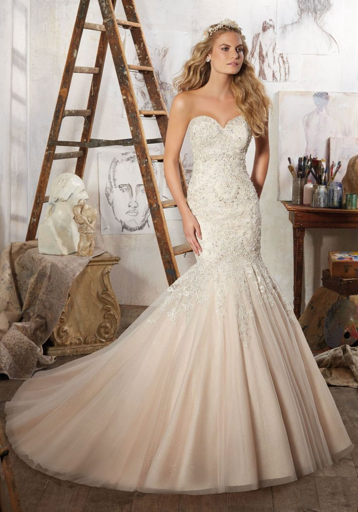 View Dress - Mori Lee Bridal SPRING 2017 Collection: 8125 - Mariela - Crystal Beaded Embroidered Appliqués on Tulle Over Sparkle Net | MoriLee Bridal