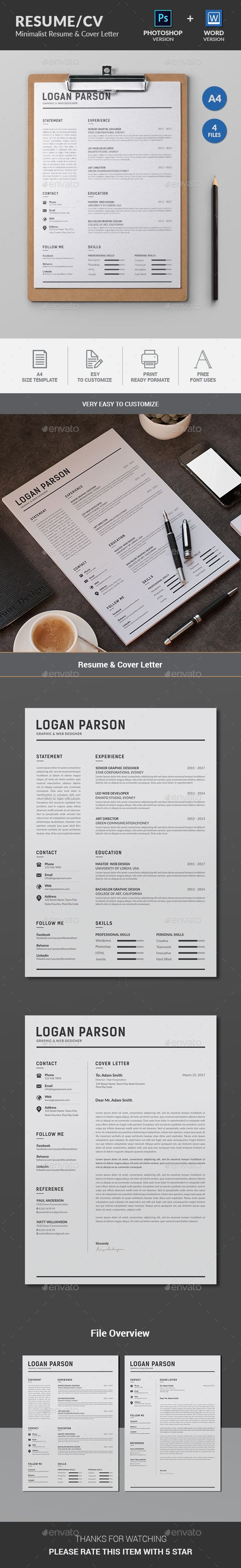 Resume Minimalist resume template focusing Name,Experience,Education and Skills which includes Resume & Cover Letter.International A4 & US Letter sizes included. Very Easy to edit your information such as typography, wording, colors and layout.this template created with strong baseline.