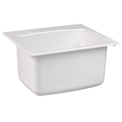 MUSTEE 22 in. x 25 in. Molded Fiberglass Self-Rimming Utility Sink in White-10 - The Home Depot