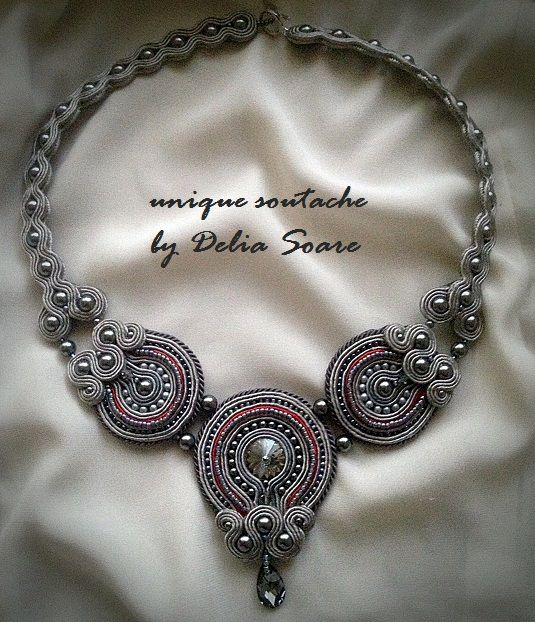 Soutache necklace, with Swarovski cristals and pearls. Design by Delia Soare, Romania
