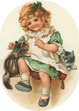 free-vintage-st-patricks-day-little-girl-in-green-dress-with-kittens.png (261×364)