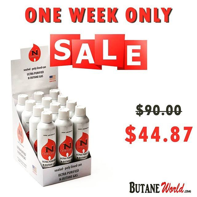 ONE WEEK SALE ONLY! Save UP TO 50% on N-Chrome Ultra Purified  N-Butane Gas 400ml Box + FREE SHIPPING Limited Time Sale: $44.87 Order Now: www.ButaneWorld.com  Always Cheapest Prices  #Deals #Sale #Offers #Butane #Cheap #cigar #lighters #Fuel #SmokeShop #ButaneGas #GasLighters #CigarLighter #Lighter #usa #canada #Nchrome #UltraPurified