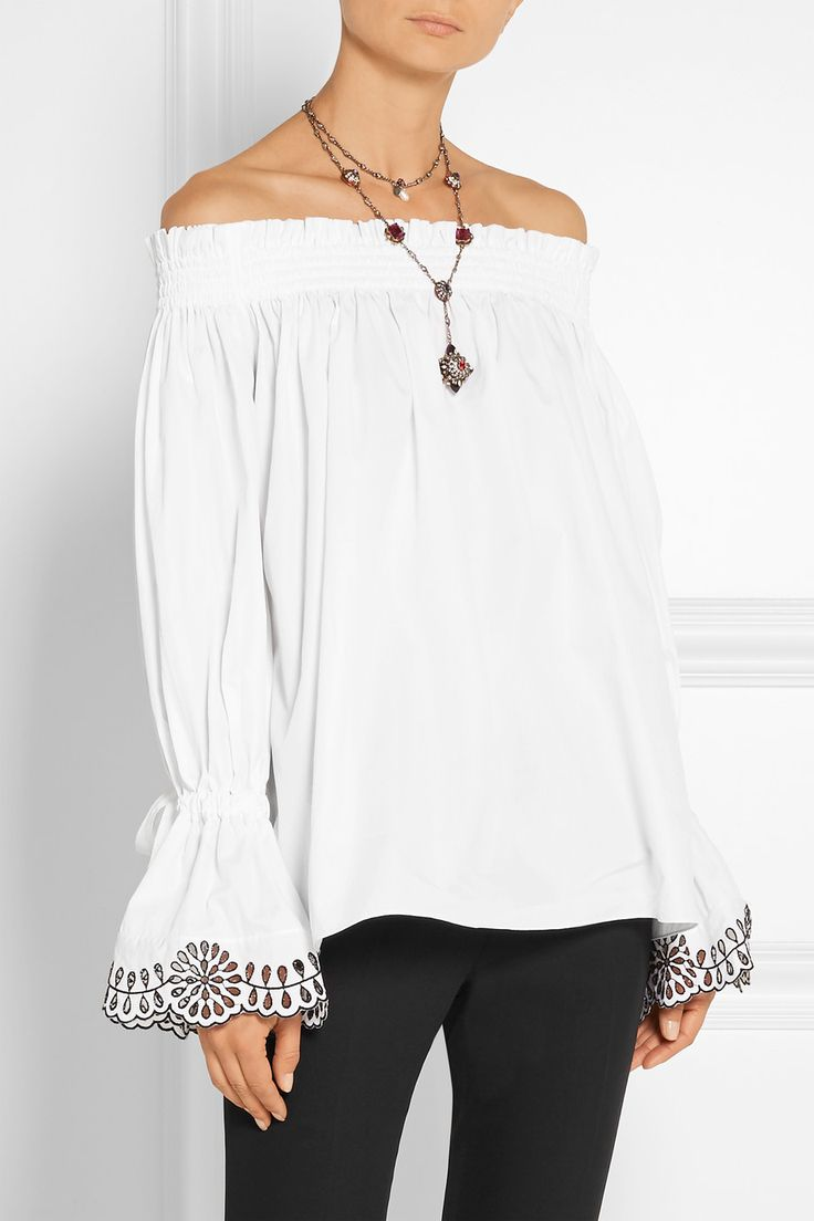 Alexander McQueen | Off-the-shoulder broderie anglaise-trimmed cotton-poplin  top