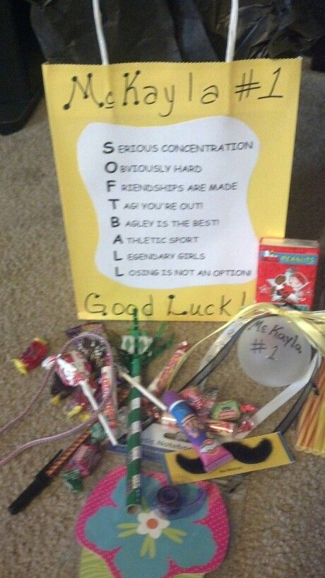 Goodie bags made for our softball team.