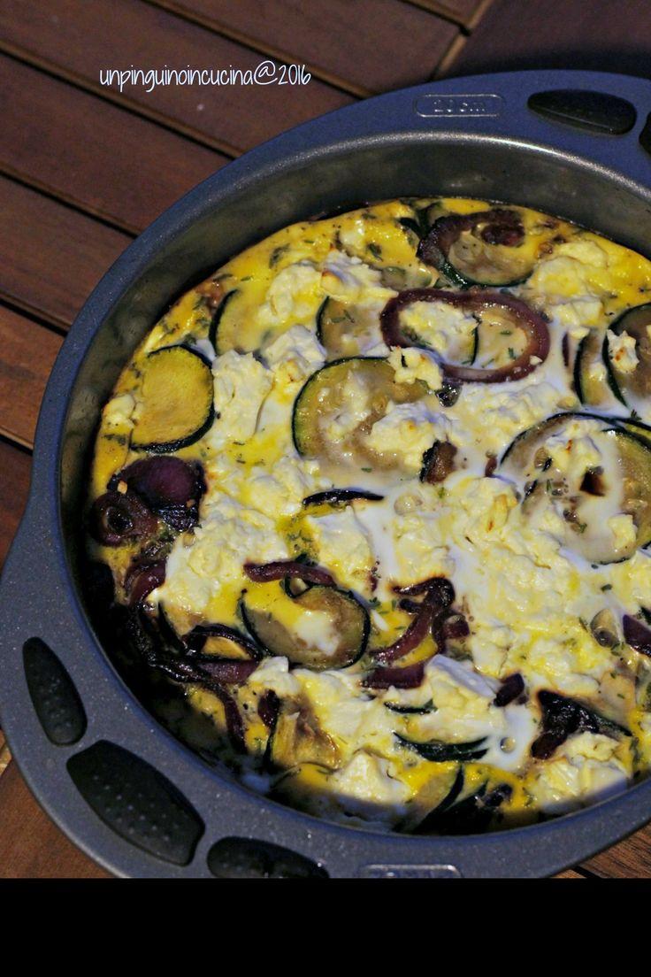 Frittata di zucchine con cipolle caramellate e feta | Un Pinguino in Cucina
