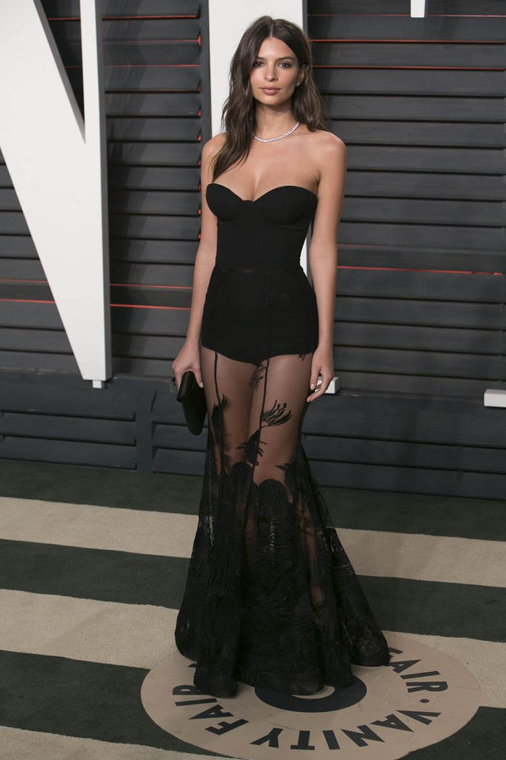 Emily Ratajkowski Black Strapless Sheer Prom Dress Vanity Fair Oscar 2016