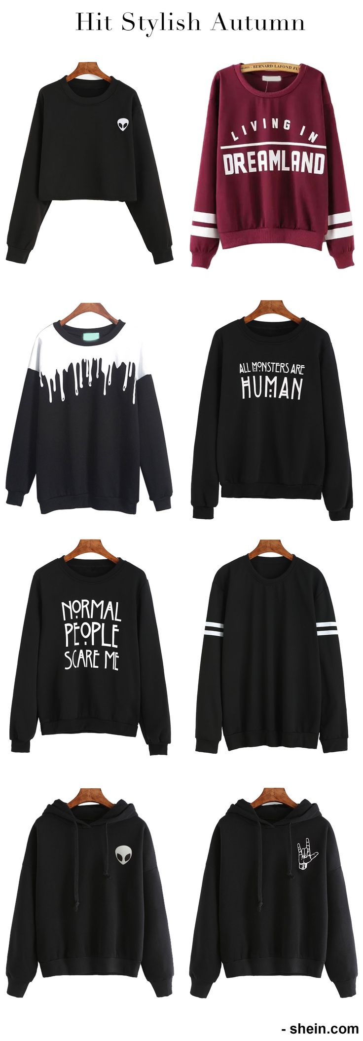 Shop hot sweatshirt online. I love black ones most. So so much sweatshirts for my early fall in my closet!