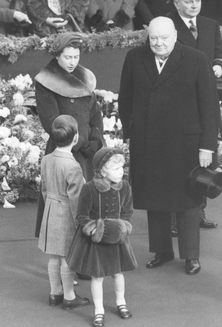 1954: Since coming to the throne, she has held regular audience with 12 prime ministers. In this photo, the queen and Winston Churchill wait at Waterloo Station in London for the Queen Mother to arrive back from a month in the US.