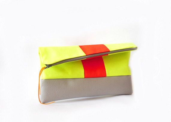 Hey, I found this really awesome Etsy listing at http://www.etsy.com/listing/99360065/sale-neon-clutch-fold-over-vegan-leather