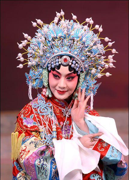 costume amazing headdress pearl blue pink red black chinese opera dress fashion classic
