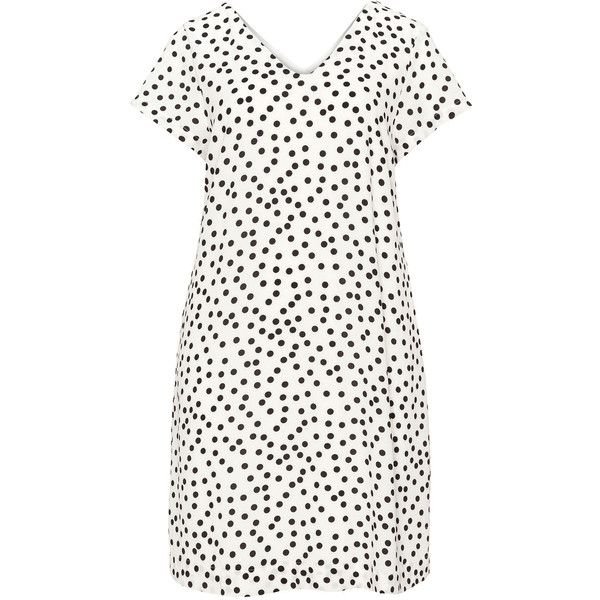Zizzi Cream / Black Plus Size V-neck polka dot dress (210 BRL) ❤ liked on Polyvore featuring dresses, cream, plus size, v-neck dresses, plus size v neck dress, plus size dresses, polka dot dress and v neck summer dresses