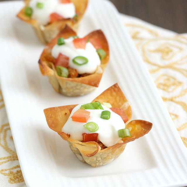 Mini Chicken Taco Cups: Wonton Wrappers, Wrappers Filled, Chicken Tacos, Mini Chicken, Recipes, Taco Cups, Minis, Shredded Chicken