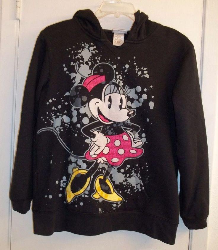 Black Fleece Hoodie Pulover Minnie Mouse Woman's XL Disney Parks Authentic  #Disney #SweatshirtCrew