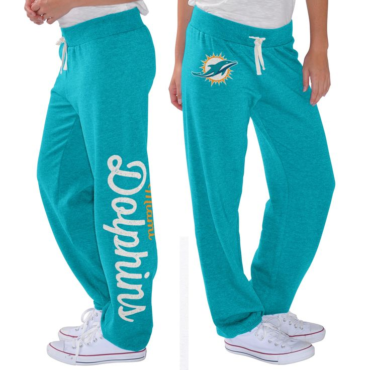 G-III 4Her by Carl Banks Miami Dolphins Women's Aqua Scrimmage Fleece Pants