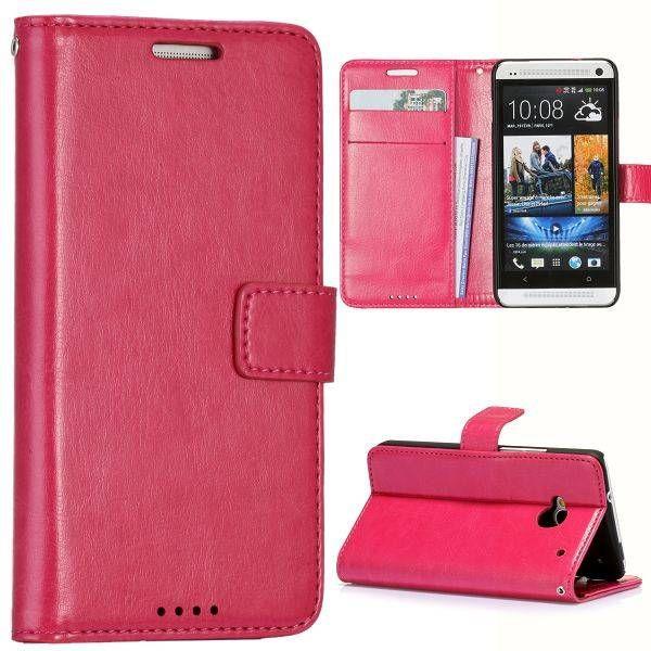 Roze faux leder bookcase hoesje voor de HTC One