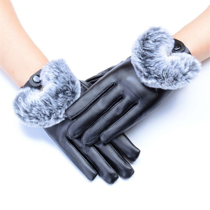 New Fashion Leather Gloves Winter High Quality Imitation Rabbit Hair PU Leather Waterproof Gloves Warm Womens and Girl Gloves