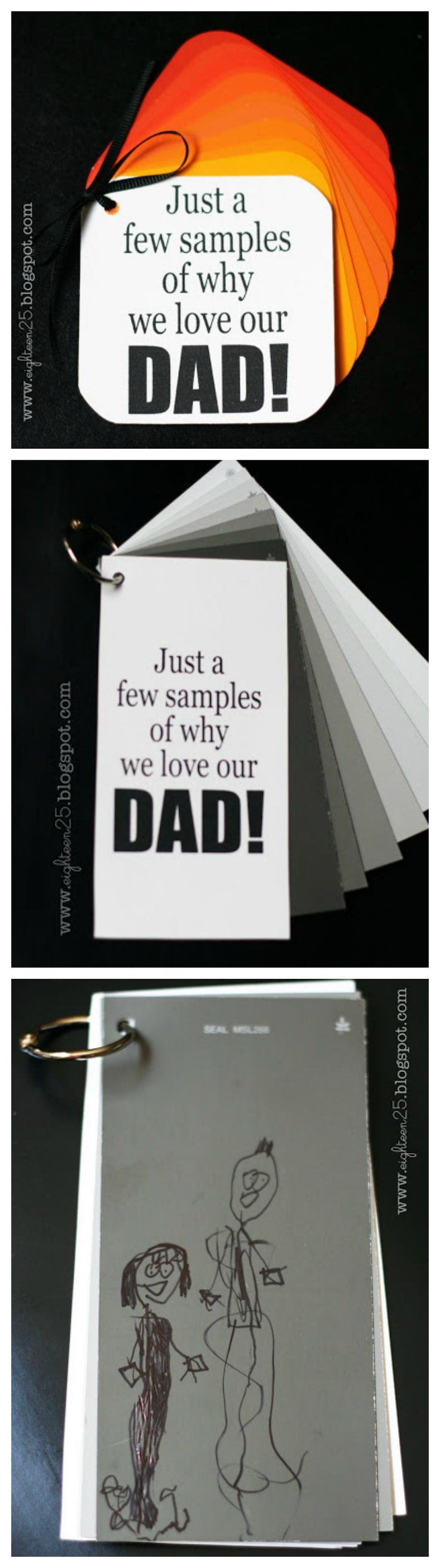 Just a few samples of why we love our Dad! | Such a sweet gift idea using paint sample cards
