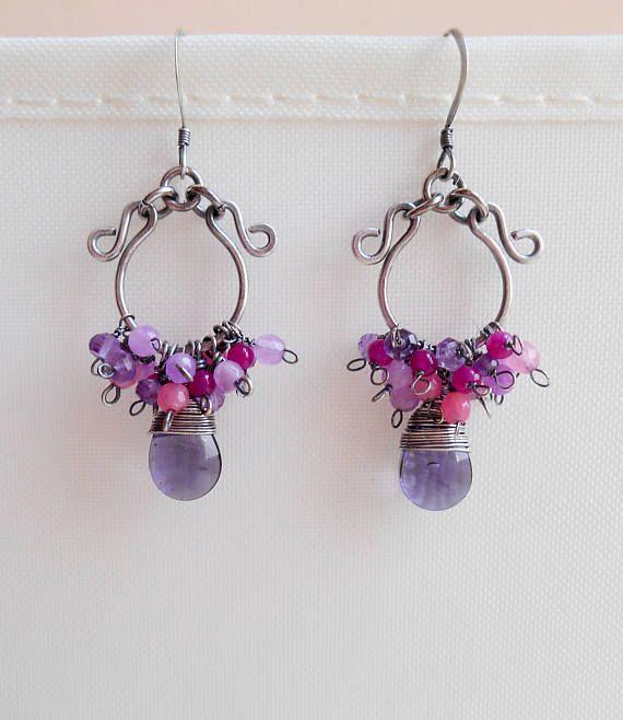 Calypso oxidized sterling silver chandelier earrings gemstone
