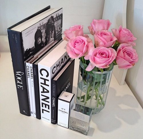 chanel, book, and flowers kép