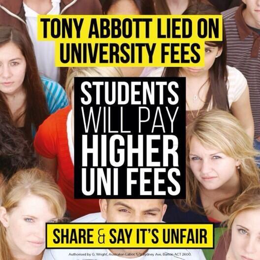Abbott Gvt just made university education harder to attain for Australian kids #auspol @The Australian Labor Party @KateEllisMP pic.twitter.com/IYsjWhnOcs