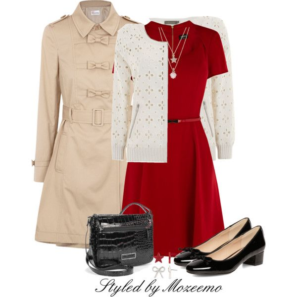 """""""Skater Dress Outfit"""" by mozeemo on Polyvore,,,Nice,Great Coat,Shoes,Dress"""